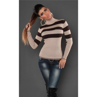 DREAMLIKE FINE-KNITTED POLO-NECK SWEATER WITH STRIPES BEIGE/BROWN