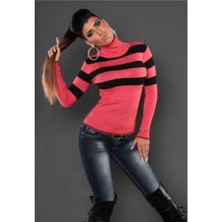 DREAMLIKE FINE-KNITTED POLO-NECK SWEATER WITH STRIPES CORAL/BLACK