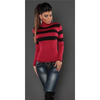 DREAMLIKE FINE-KNITTED POLO-NECK SWEATER WITH STRIPES RED/BLACK