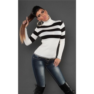 DREAMLIKE FINE-KNITTED POLO-NECK SWEATER WITH STRIPES WHITE/BLACK