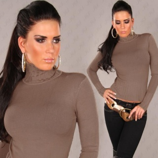 ELEGANT KNITTED SWEATER POLO-NECK SWEATER CAPPUCCINO