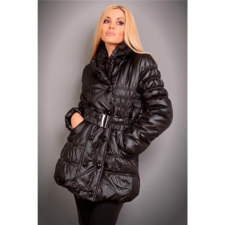 EXCLUSIVE QUILTED JACKET WINTER COAT WITH BELT WET LOOK BLACK