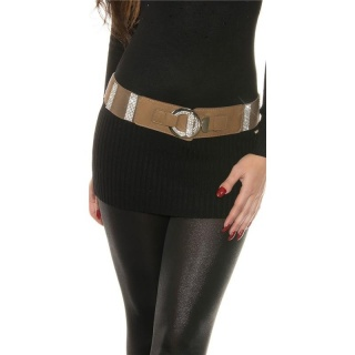 ELEGANT WOMEN`S STRETCH BELT WITH LOTS OF RHINESTONES CAPPUCCINO