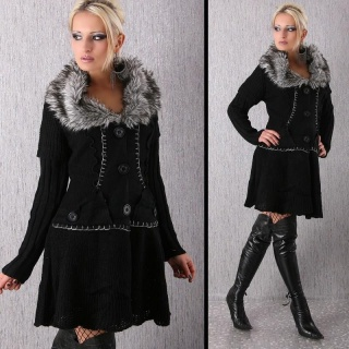 ELEGANT KNITTED COAT JACKET WITH FAKE FUR COLLAR BLACK