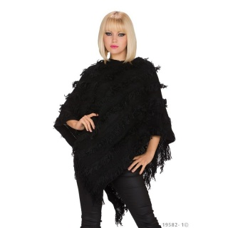 ELEGANT KNITTED PONCHO WITH FRINGES CAPE WRAP BLACK