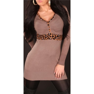 ELEGANT KNITTED PULLOVER LONG SWEATER LEOPARD CAPPUCCINO