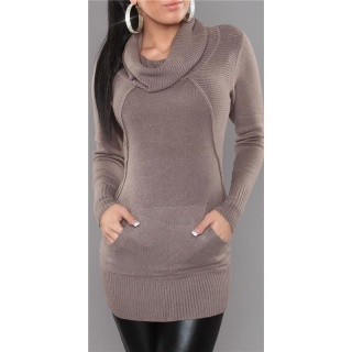 ELEGANT KNITTED LONG SWEATER POLO-NECK SWEATER CAPPUCCINO