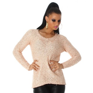 ELEGANT KNITTED SWEATER WITH CHIFFON AND SEQUINS SALMON