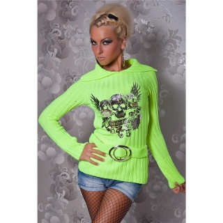ELEGANT KNITTED SWEATER WITH SILVER PRINT YELLOW