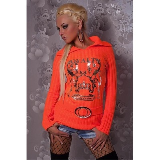ELEGANTER STRICK-PULLOVER MIT SILBER-PRINT ORANGE