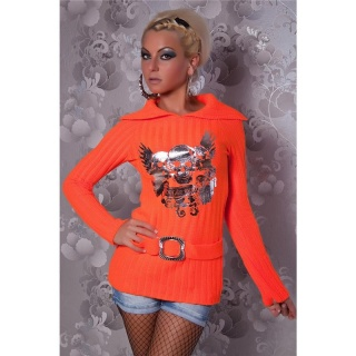 ELEGANT KNITTED SWEATER WITH SILVER PRINT ORANGE