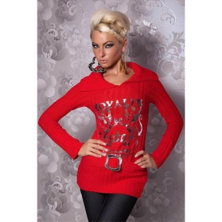 ELEGANT KNITTED SWEATER WITH SILVER PRINT RED