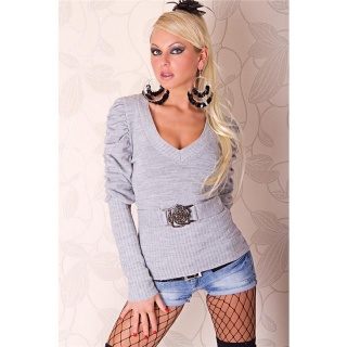 STYLISH KNITTED SWEATER WITH BUCKLE LIGHT GREY