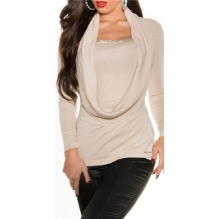ELEGANT FINED-KNITTED COWL-NECK SWEATER WITH RHINESTONES BEIGE
