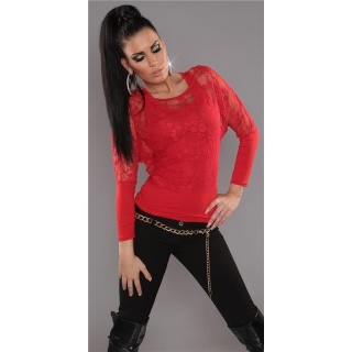 ELEGANT LONG-SLEEVED 2IN1 SHIRT WITH LACE TANKTOP RED