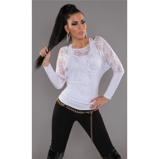 ELEGANT LONG-SLEEVED 2IN1 SHIRT WITH LACE TANKTOP WHITE