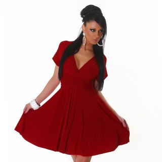 ELEGANT A-LINE MINI DRESS WITH CROSSED-OVER STRAPS DARK RED