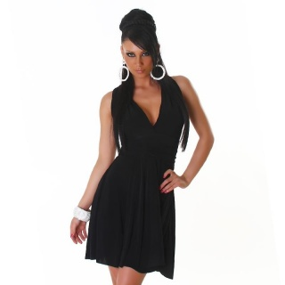 ELEGANT A-LINE MINIDRESS WITH CROSSED-OVER STRAPS BLACK