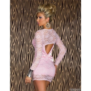 ELEGANT EVENING DRESS WITH LACE PINK