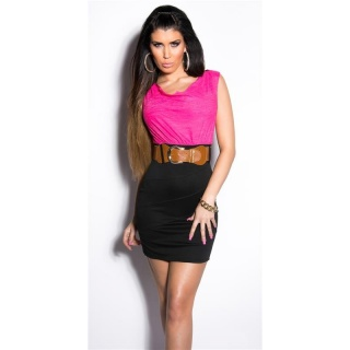 ELEGANT SLEEVELESS MINI DRESS WITH BELT FUCHSIA/BLACK