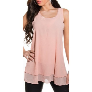 ELEGANT LOOSE-FIT CHIFFON TOP WITH RHINESTONES TRANSPARENT APRICOT