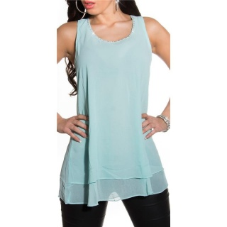 ELEGANT LOOSE-FIT CHIFFON TOP WITH RHINESTONES TRANSPARENT MINT