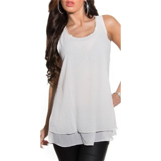 ELEGANT LOOSE-FIT CHIFFON TOP WITH RHINESTONES TRANSPARENT WHITE