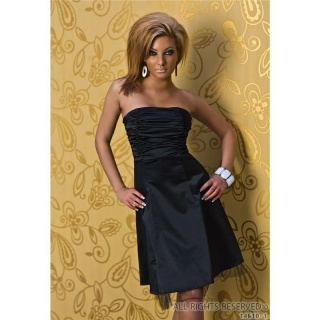 ELEGANT GLAMOUR SATIN EVENING DRESS BLACK