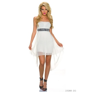 ELEGANT BANDEAU EVENING DRESS WITH CHIFFON AND RHINESTONES CREAM