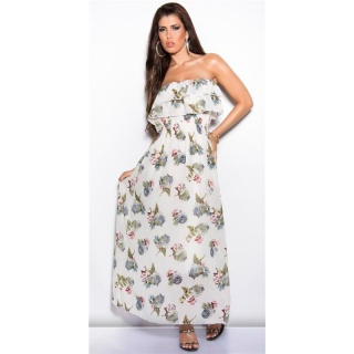 ELEGANT LONG MAXI DRESS WITH FLOWERS AND FLOUNCES WHITE