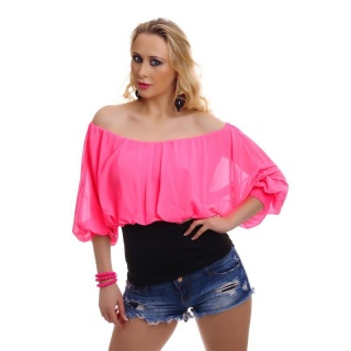 ELEGANT SHORT-SLEEVED CARMEN SHIRT WITH CHIFFON FUCHSIA/BLACK