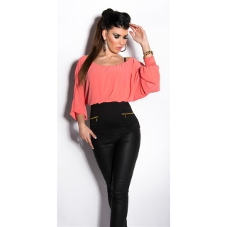 SEXY CARMEN SHIRT WITH BATWING SLEEVES CORAL/BLACK