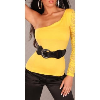 ELEGANT ONE-SLEEVE SHIRT WITH LACE BELT YELLOW