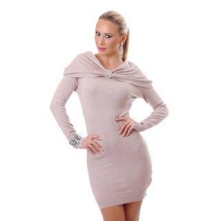ELEGANT FINE-KNITTED MINIDRESS IN BOLERO-LOOK WITH BROOCH BEIGE