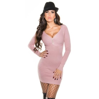 ELEGANT FINE-KNITTED MINIDRESS/LONG SWEATER WITH RHINESTONES ANTIQUE PINK