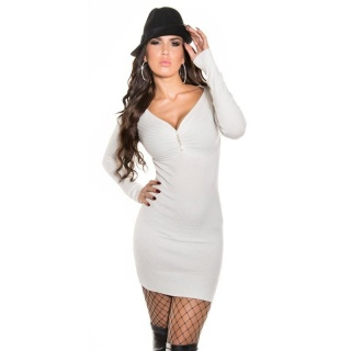 ELEGANT FINE-KNITTED MINIDRESS/LONG SWEATER WITH RHINESTONES WHITE