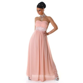 ELEGANT GLAMOUR CHIFFON EVENING DRESS WITH RHINESTONES SALMON