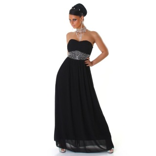 ELEGANT GLAMOUR CHIFFON EVENING DRESS WITH RHINESTONES BLACK