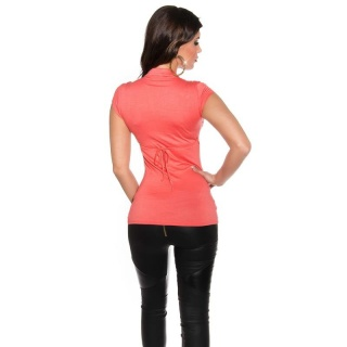 ELEGANT SHORT-SLEEVED SHIRT IN MILITARY-LOOK CORAL