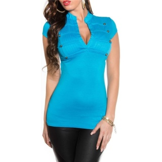 ELEGANT SHORT-SLEEVED SHIRT IN MILITARY-LOOK TURQUOISE