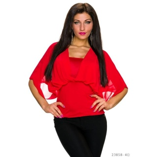 ELEGANT SHORT-SLEEVED SHIRT WITH CHIFFON RED