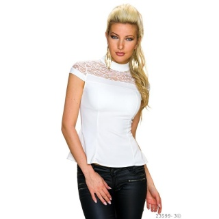 ELEGANT SHORT-SLEEVED SHIRT WITH NOBLE LACE WHITE