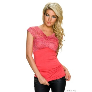ELEGANT SHORT-SLEEVED SHIRT WITH FINE LACE SALMON