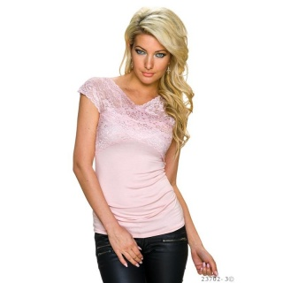 ELEGANT SHORT-SLEEVED SHIRT WITH FINE LACE PINK