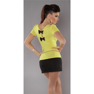 ELEGANT SHORT-SLEEVED SHIRT WITH BOWS YELLOW