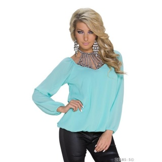 ELEGANT LONG-SLEEVED GLAMOUR-SHIRT MADE OF CHIFFON MINT GREEN