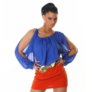 ELEGANT LONG-SLEEVED MINI DRESS WITH BELT BLUE/ORANGE