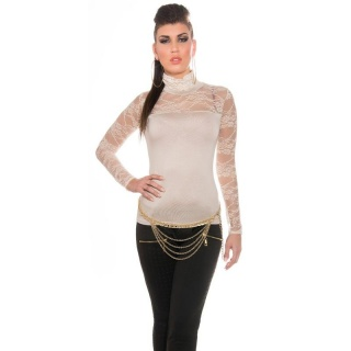 ELEGANT LONG-SLEEVED SHIRT WITH LACE AND STAND-UP COLLAR BEIGE