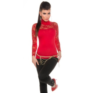 ELEGANT LONG-SLEEVED SHIRT WITH LACE AND STAND-UP COLLAR RED