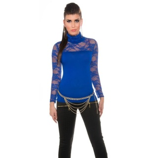 ELEGANT LONG-SLEEVED SHIRT WITH LACE AND STAND-UP COLLAR ROYAL BLUE